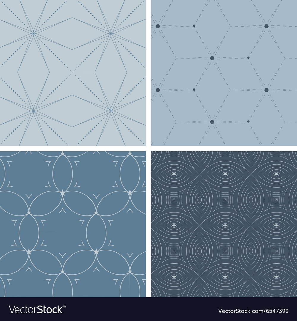 Set of four geometric seamless patterns vector