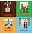 set of restaurant people posters in flat vector image