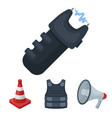 bulletproof vest megaphone cone of fencing vector image