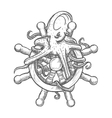 Angry octopus on ship helm sketch symbol vector image