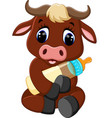 cute baby bull cartoon vector image