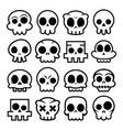 halloween cartoon skull icons mexican cute vector image