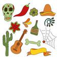 hand drawn set of mexican symbols - guitar vector image