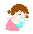 little girl sneezing vector image
