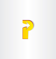 yellow letter p with arrow vector image