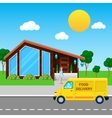 Food Delivery Service Truck Brought Order vector image