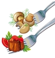 Mushrooms and meat on fork vector image vector image
