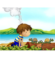 A boy watching the three turtles vector image vector image