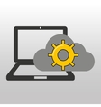 cloud computer connected gear work vector image