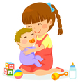 girl and baby vector image