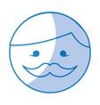 shadow round moustache man face cartoon vector image
