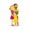 adult couple and young girl hugging vector image