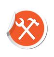 tools icon orange sticker vector image
