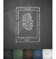fingerprint on the plate icon Hand drawn vector image