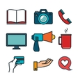 business flat line icons vector image