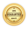 Golden medal - 100 quality guarantee symbol vector image
