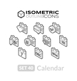 Isometric outline icons set 40 vector image