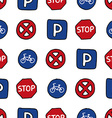 Seamless pattern of dooles road signs vector image
