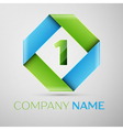 Number one logo symbol in the colorful rhombus vector image