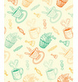 sketch coffee cups and sweets vector image