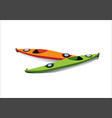 flat of two kayaks on the shore vector image