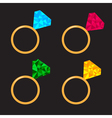Wedding gold ring set with diamond Polygonal vector image