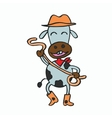 Cartoon cowboy cow for kids vector image