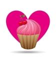 heart cartoon pink cupcake sweet cherry icon vector image