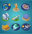 isometric space elements set vector image