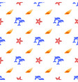Pattern with dolphins sea shells and starfish vector image
