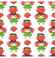 seamless colorful pattern with cute little girl vector image
