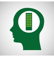 silhouette green head building vector image