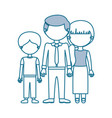 blue contour with color sections faceless family vector image