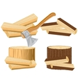 Axe and firewood vector image vector image