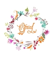 Spring hand drawn floral calligraphic background vector image
