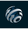 Abstract Globe Logo Element Rotating Arrows vector image