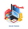 Online Trading Isometric Composition vector image