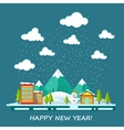Winter forest landscape with houses and Christmas vector image