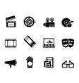 Silhouette Movie theatre and cinema icons vector image