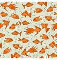 Gold fish in water seamless pattern vector image