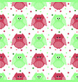 cute green and carmine owls with dots in the vector image
