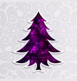 glowing purple christmas tree isolated on the vector image