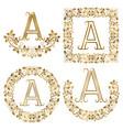 golden a letter ornamental monograms set heraldic vector image