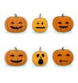 set of pumpkins halloween holiday vector image
