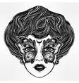 Portrait of the vintage girl with butterfly mask vector image