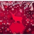 Christmas deer template card vector image vector image