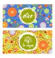 Healthy vegan diet horizontal flyers set vector image