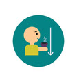 stylish icon in color circle man drinking hot vector image