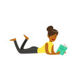 beautiful young black woman lying on the floor and vector image