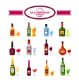 Alcoholic Beverages Drinks Flat Icons Set vector image